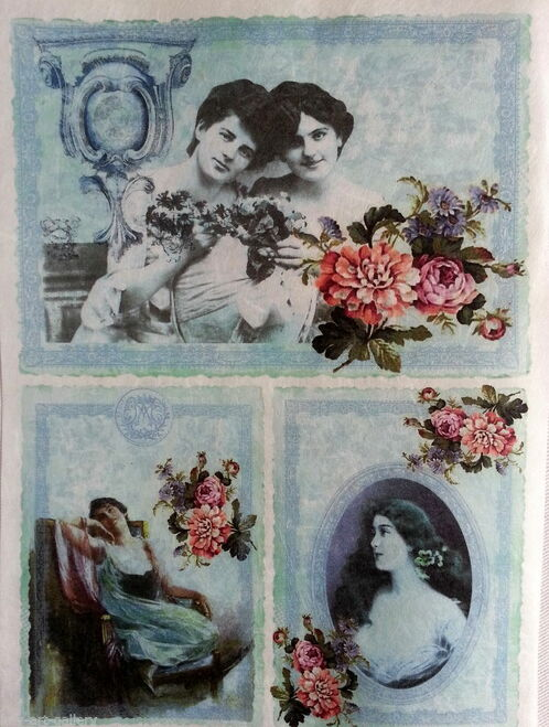 1  Sheet  of Rice Paper for Decoupage Craft Vintage   -   Vintage Women Blue