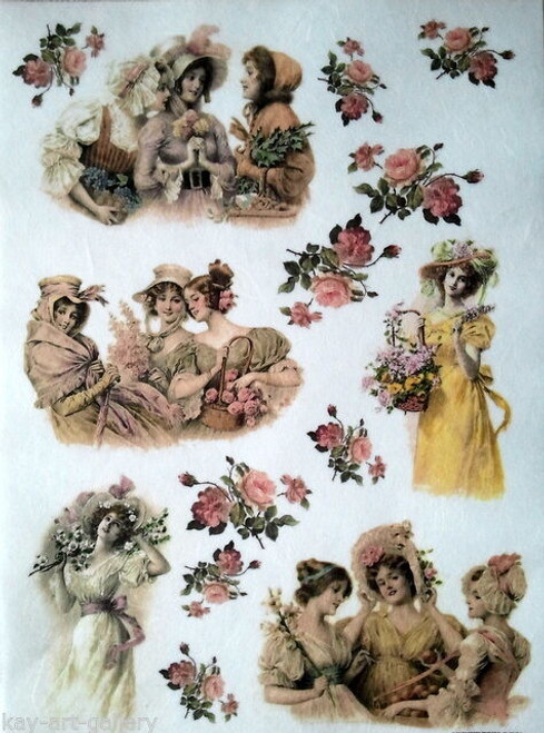 1  Sheet  of Rice Paper for Decoupage Craft Vintage   -  Vintage Women Floral