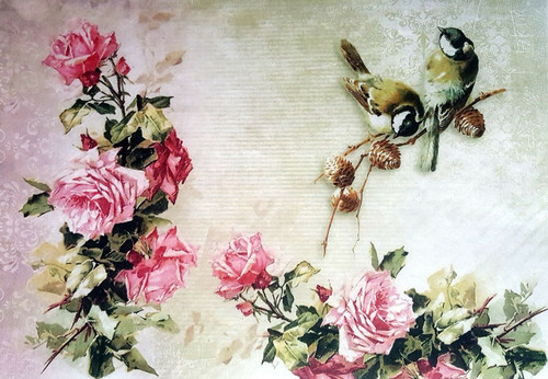 1  Sheet  of Rice Paper for Decoupage Craft Vintage   -  Romantic Garden 1