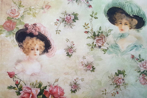 1  Sheet  of Rice Paper for Decoupage Craft Vintage   -  Romantic Ladies 1