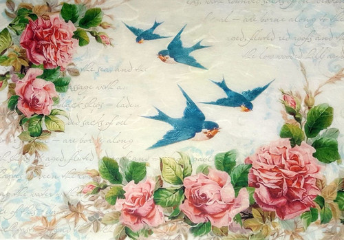 1  Sheet  of Rice Paper for Decoupage Craft Vintage   -  Vintage Swallows