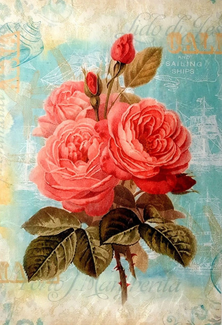 1  Sheet  of Rice Paper for Decoupage Craft Vintage   -   Roses in Paris 2
