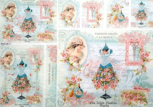 1  Sheet  of Rice Paper for Decoupage Craft Vintage   -  Fashion in Paris