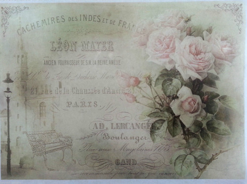 Rice Paper for Decoupage Craft Vintage,1  Sheet A4 - Tea Roses 2