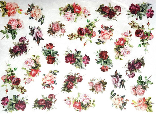1  Sheet  of Rice Paper for Decoupage Craft Vintage   -   Little Roses ,Flowers