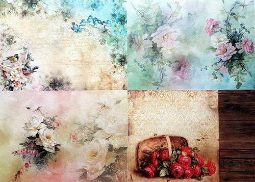 1  Sheet  of Rice Paper for Decoupage Craft Vintage   -   Collage One Design 1
