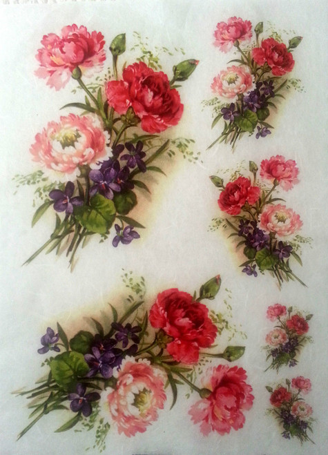 1  Sheet  of Rice Paper for Decoupage Craft Vintage   -   Flowers Bunch