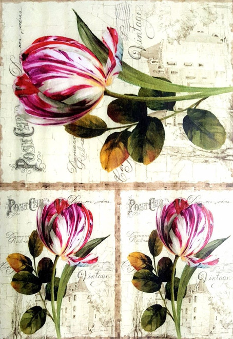 1  Sheet  of Rice Paper for Decoupage Craft Vintage   -  Burgundy Tulips