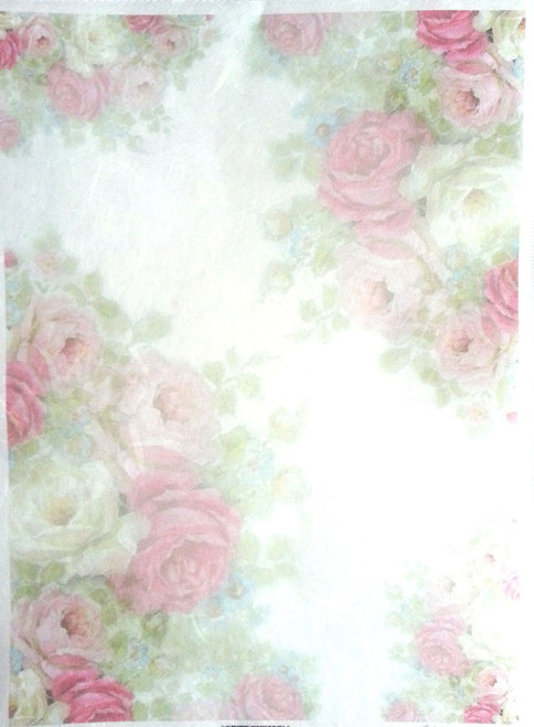 1  Sheet  of Rice Paper for Decoupage Craft Vintage   -   Light Roses