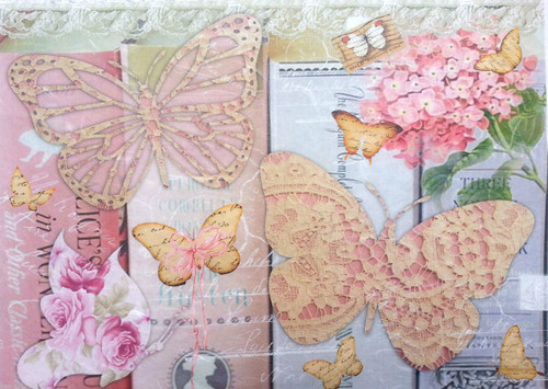 1  Sheet  of Rice Paper for Decoupage Craft Vintage    -   Pink Butterflies