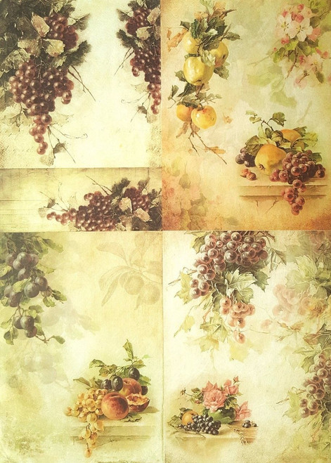 1  Sheet  of Rice Paper for Decoupage Craft Vintage    - Collage of Fruits