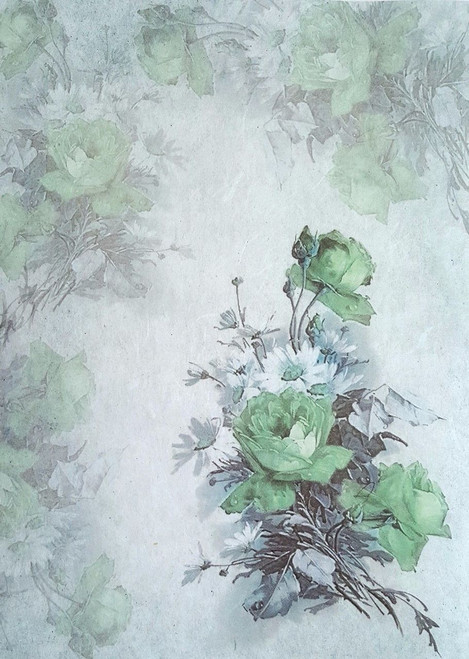 1  Sheet  of Rice Paper for Decoupage Craft Vintage    -  Green Roses