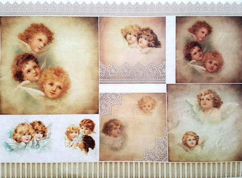1  Sheet  of Rice Paper for Decoupage Craft Vintage    -  Collage of Angels