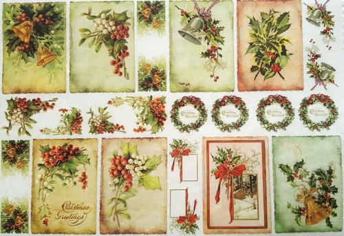 1  Sheet  of Rice Paper for Decoupage Craft Vintage    -  Christmas Labels