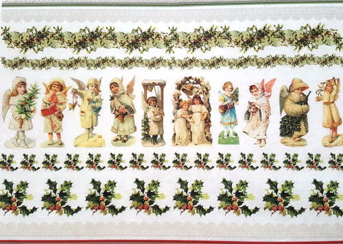 1  Sheet  of Rice Paper for Decoupage Craft Vintage    -  Christmas Village