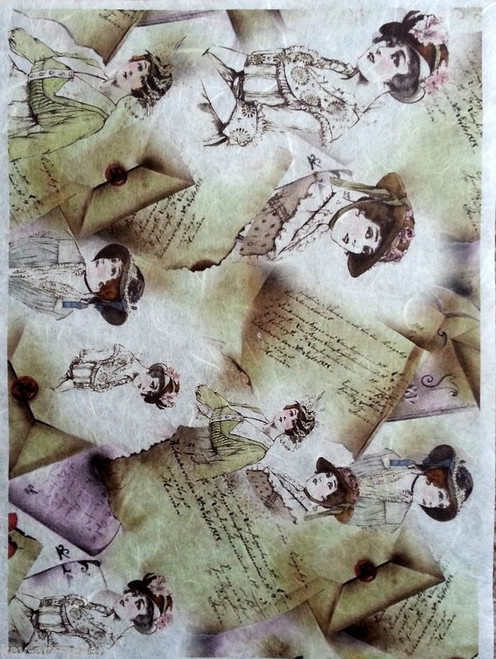 1  Sheet  of Rice Paper for Decoupage Craft Vintage    -  Ladies and Letters