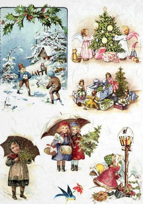 1  Sheet  of Rice Paper for Decoupage Craft Vintage    -   Vintage Christmas 1