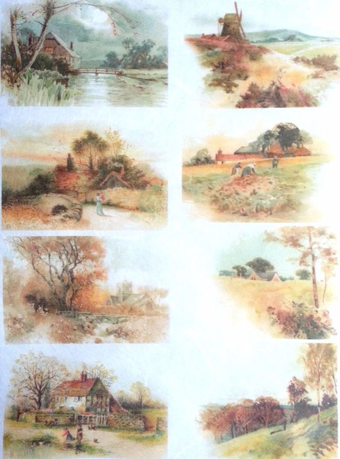 1  Sheet  of Rice Paper for Decoupage Craft Vintage    -   Village Country Art