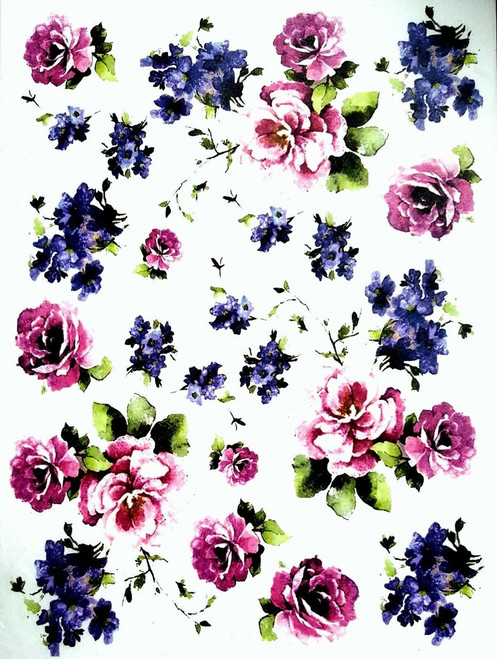 1  Sheet  of Rice Paper for Decoupage Craft Vintage    -  Purple & Blue Flowers