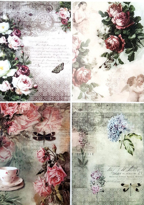 1  Sheet  of Rice Paper for Decoupage Craft Vintage    -  Roses Beauty Collage