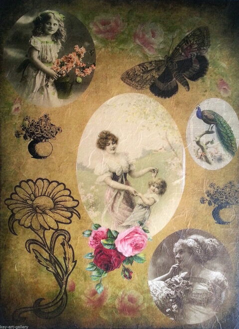 1  Sheet  of Rice Paper for Decoupage Craft Vintage    -   Paris Lady