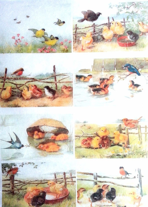 1  Sheet  of Rice Paper for Decoupage Craft Vintage    -  Easter Day Village