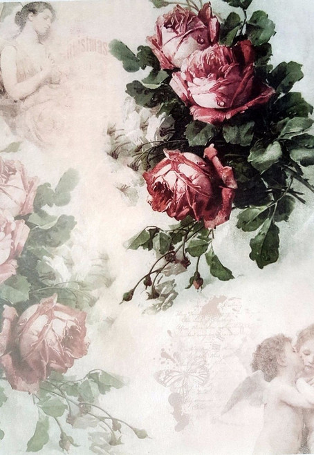 1  Sheet  of Rice Paper for Decoupage Craft Vintage    -  Roses and Angels