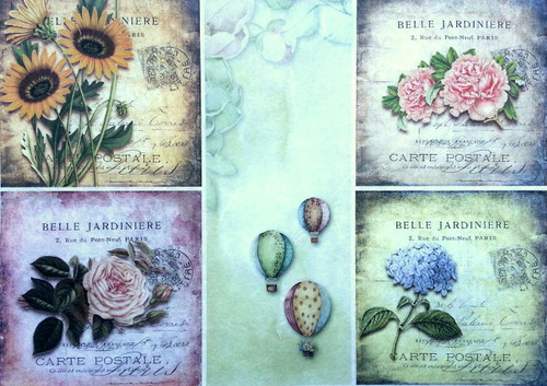 1 Sheet A4  Rice Paper for Decoupage Craft Vintage -  Vintage Collage Multi