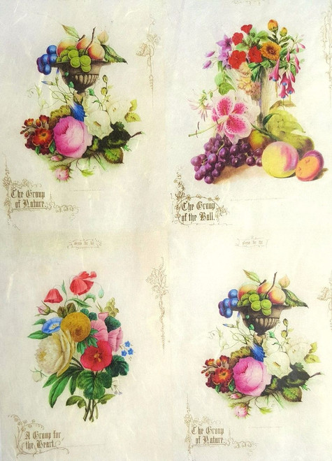 1 Sheet A4  Rice Paper for Decoupage Craft Vintage -     Fruits Floral Collage