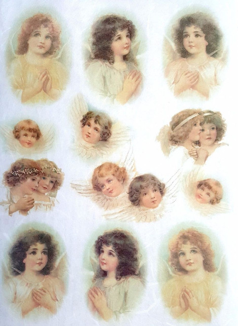 1 Sheet A4  Rice Paper for Decoupage Craft Vintage  - Vintage Angels Collage