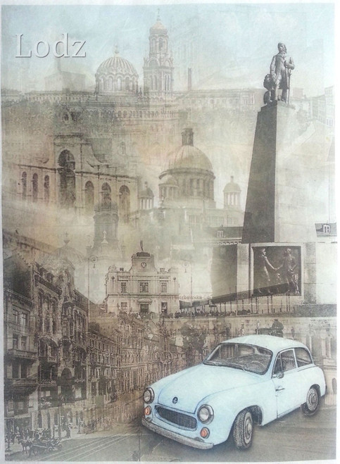 1 Sheet A4  Rice Paper for Decoupage Craft Vintage  -   Lodz City
