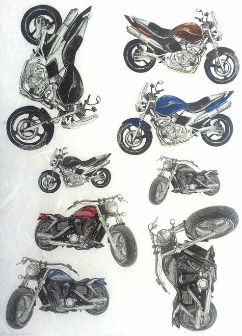 1 Sheet A4  Rice Paper for Decoupage Craft Vintage  -  Motorcycle 2