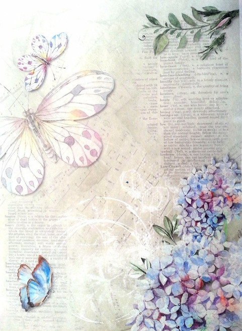 1 Sheet A4  Rice Paper for Decoupage Craft Vintage  -  Butterfly Light