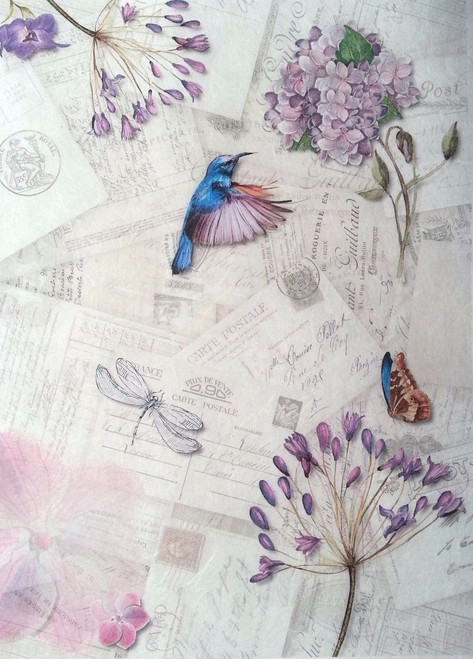1 Sheet A4  Rice Paper for Decoupage Craft Vintage  -  Magic Garden