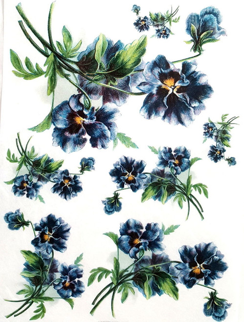 1 Sheet A4  Rice Paper for Decoupage Craft Vintage  -   Garden Blue Flowers
