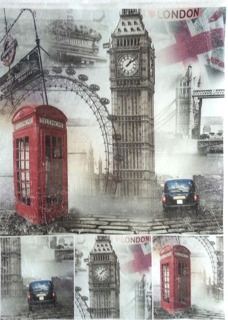 1 Sheet A4  Rice Paper for Decoupage Craft Vintage - London