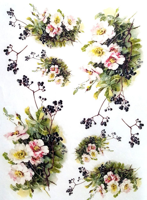 1 Sheet A4  Rice Paper for Decoupage Craft Vintage  -  Garden Flowers 1/5