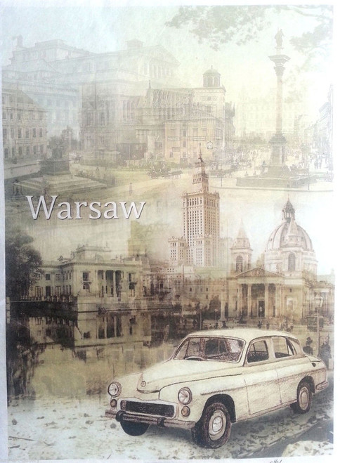 1 Sheet A4  Rice Paper for Decoupage Craft Vintage  -  Warsaw City