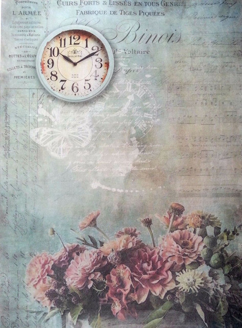 1 Sheet A4  Rice Paper for Decoupage Craft Vintage  -  Time Clock