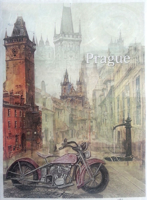 1 Sheet A4  Rice Paper for Decoupage Craft Vintage  -   Prague City
