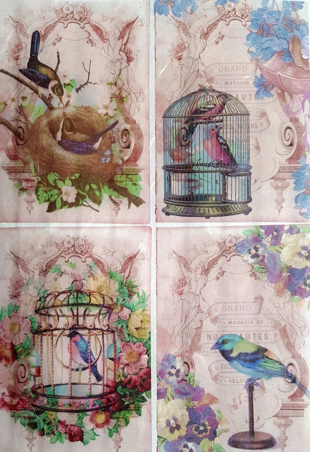 1 Sheet A4  Rice Paper for Decoupage Craft Vintage  -    Birds Collage Pink