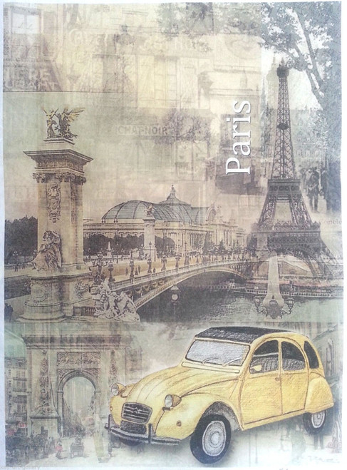 Rice Paper for Decoupage Craft Vintage, 1 Sheet A4  -  Paris City