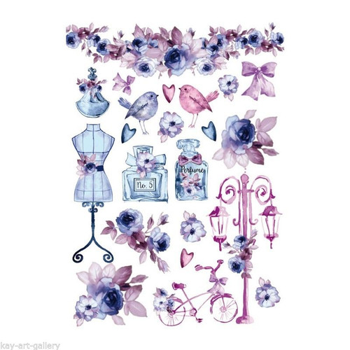 Rice Paper for Decoupage Craft Vintage, 1 Sheet A4   - Vintage Flowers Fashion
