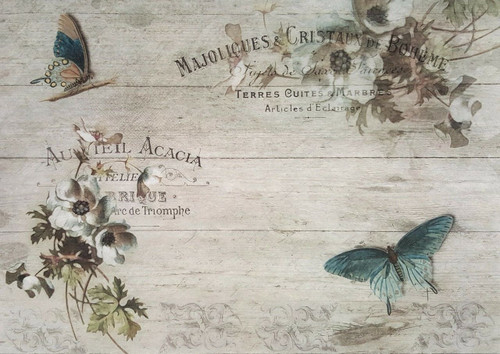 1 Sheet A4  Rice Paper for Decoupage Craft Vintage   -    Spring Vintage Acacia