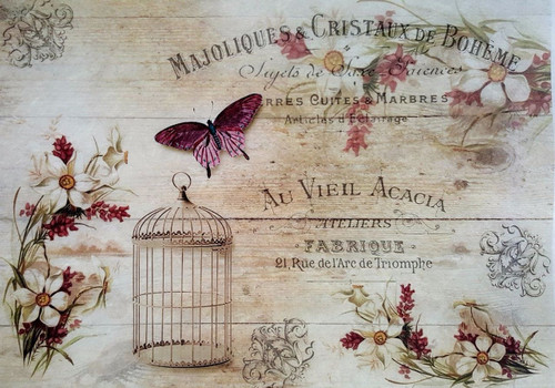 1 Sheet A4  Rice Paper for Decoupage Craft Vintage   -   Spring Vintage Board