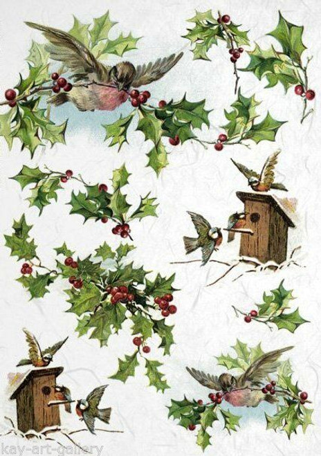 1 Sheet A4  Rice Paper for Decoupage Craft Vintage   -    Spring Family Birds