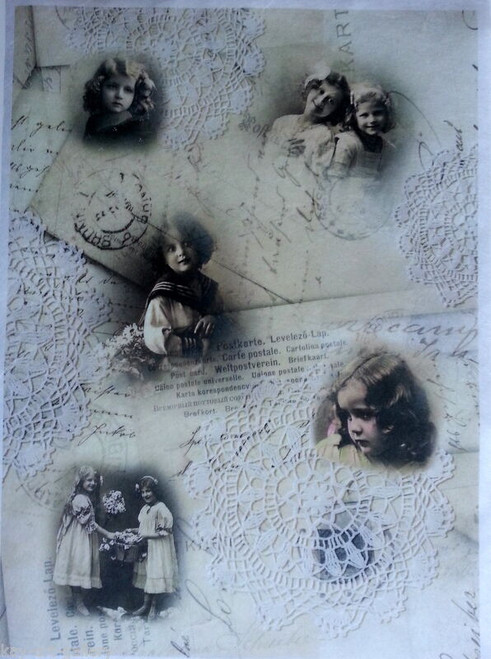 1 Sheet A4  Rice Paper for Decoupage Craft Vintage   -  Vintage Angels Picture