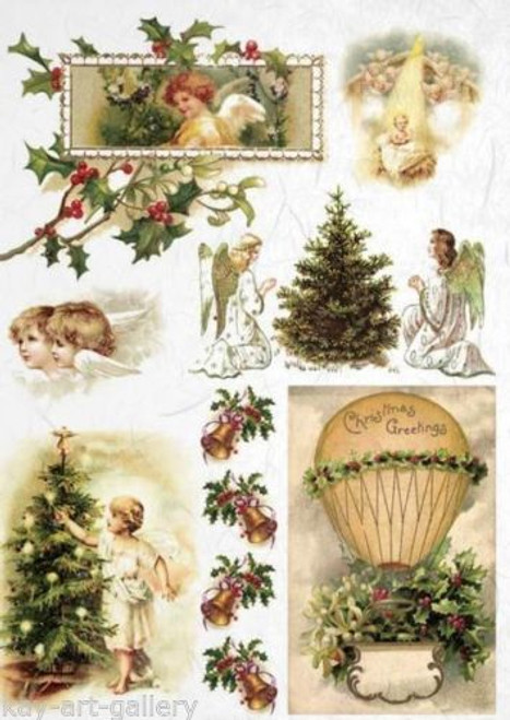 1 Sheet A4  Rice Paper for Decoupage Craft Vintage   -   Vintage Christmas Angles