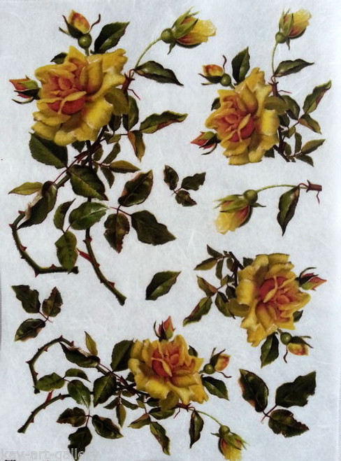 1 Sheet A4  Rice Paper for Decoupage Craft Vintage   -   Roses in Yellow