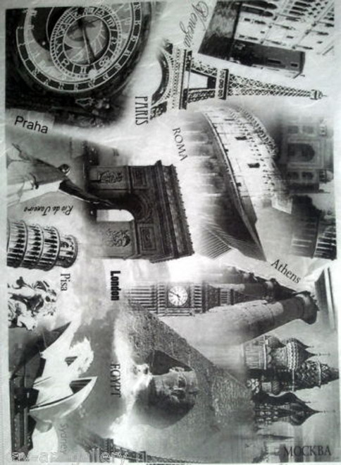 1 Sheet A4  Rice Paper for Decoupage Craft Vintage   -  World in Grey